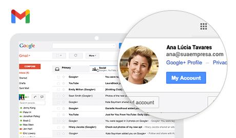 Email do Google com o nome da sua empresa