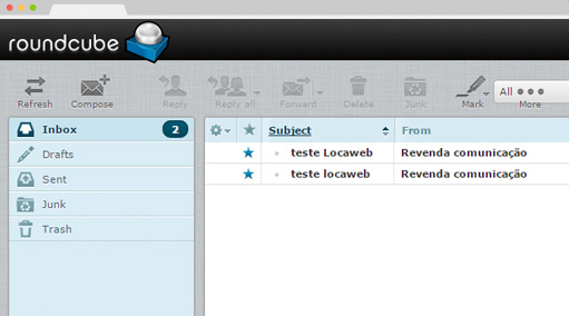 Interface de email revenda plesk